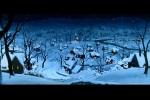 Pequena vila coberta pela neve
