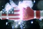 Luvas com as bandeiras dos EUA e da URSS